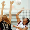 Globe/T. Rob Brown<br /> Joplin's Amber Harbin (10) makes a kill attempt against Parkview's Kelly Roark (19) during Monday night's game, Oct. 23, 2006, at Joplin.<br /> Section: Sports