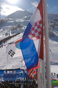 During the Mens GS alpine ski race finals