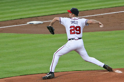 John Smoltz pitched 6 innings to get his 14th win of the season.  He gave up 4 hits and 1 run (a home run) and walked 1 batter, but also recorded 4 strike outs.