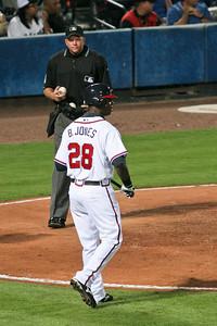 Rookie LF Brandon Jones comes up to bat.