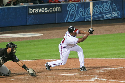 Veteran Julio Franco made a late appearance in the game, pinch hitting for pitcher Travis Moylan.  He singled and drove in one run.