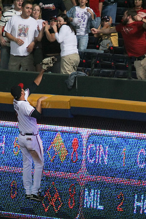 Jeff Francoeur chases after Mike Jacobs' 7th inning home run hit off of Jose Ascanio.