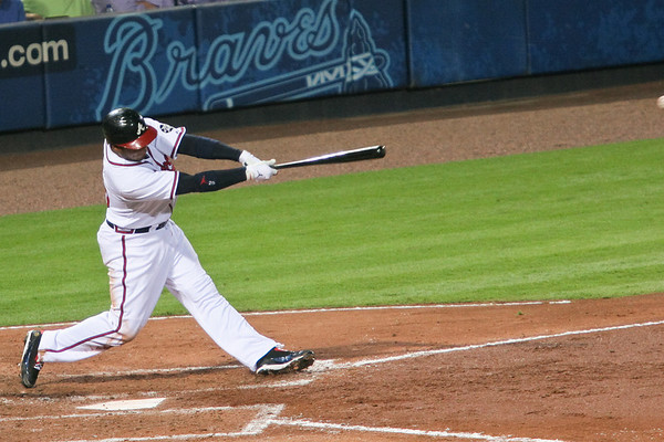 Andruw Jones hits a single.