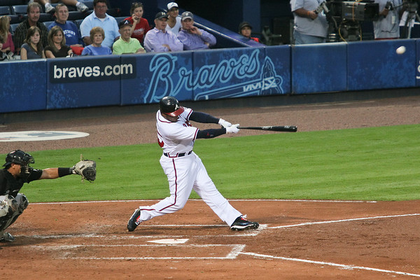 Andruw Jones gets his first hit of the night.