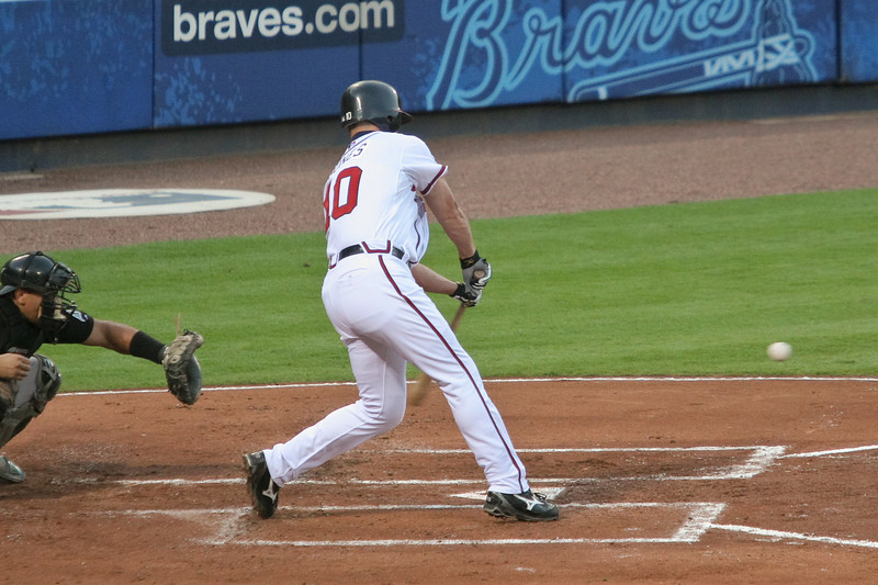 Chipper Jones had three hits in four at-bats and 2 RBIs.