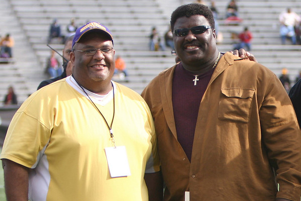 Michael Jones with Alcorn great Jimmy Giles