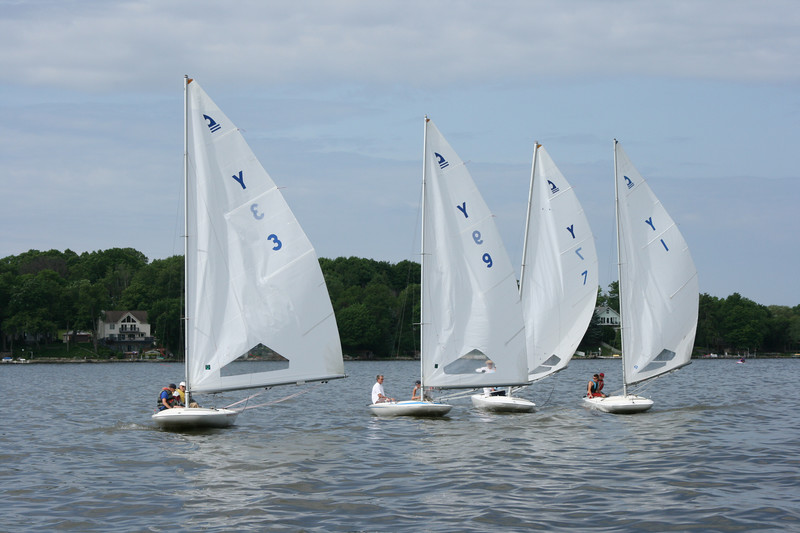 All of the boats line up for a tight race start.  Today was not a good wind day which made for a long day on the lake.