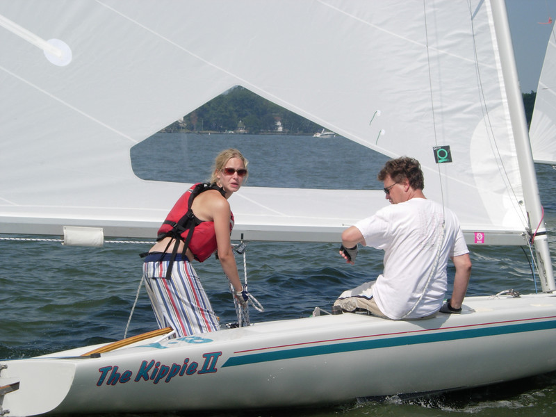 "Robert and Jessica out on ""The Kippie II"" during one of the races.  Jessica, who is one of the sailing school instructors, skippers the boat with her dad as crew."