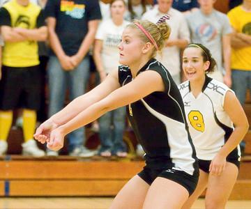 Copyright 2007 Curtis Clegg Sycamore vs. LaSalle-Peru volleyball 8-27 Sycamore: 2 Lauren Evans (left) and  8 Justine Schepler