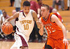 Science Hill's Josh Odem, #10, drives past Morristown East's Austin Gardner, #33. Photo by Ned Jilton II