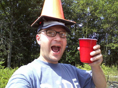Scott having a cone and a brew!