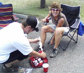 Adam fixes up Sherry's leaky leg