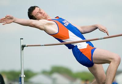 GK:  Senior Ryan Page at the high jump at the sectionals at GKHS