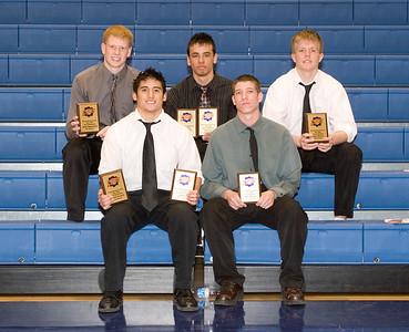 GKHS boys basketball award winners.  Back row:  K.C. McCarty, Jimmy Lopez, Scott Suchy.  Front row:  Marty Dwyer, Trever Meunsch.