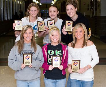 GKHS girls basketball award winners.  Back row:  Molly Meier, Lauren Strohmaier, Mariah Sartorius.  Front Row:  Samantha McClay, Brittney Moss, Jami Miller.