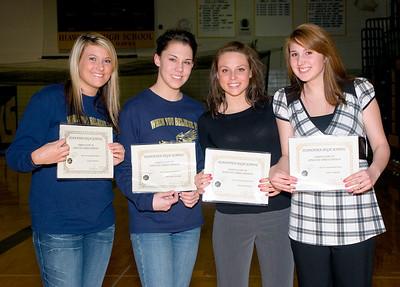 Hiawatha HS girls basketball 2007-2008 award winners Cyeria Brown, Breanna Cassidy, Rosetta Taylor, Sam Swindell.