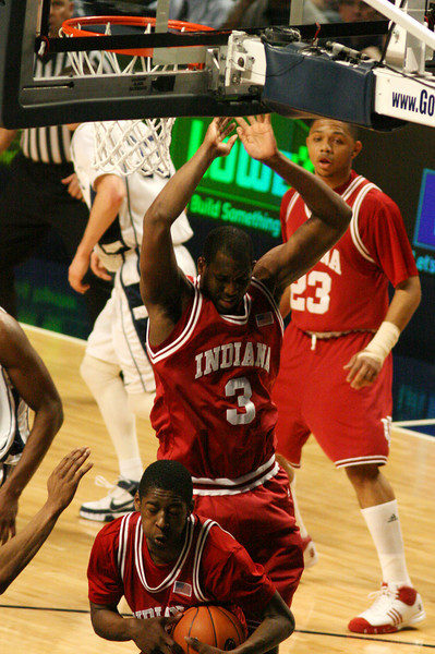 March 9, 2008  Penn St vs. Indiana NCAA Men's basketball<br /> Jordan Crawford pulls down a rebound as DJ White goes up strong