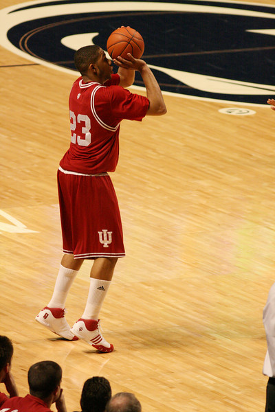 March 9, 2008  Penn St vs. Indiana NCAA Men's basketball<br /> Eric Gordon squares up for a three pointer