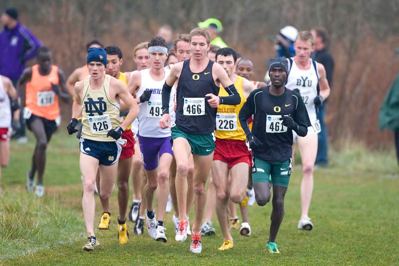 At 6.5K, Left to Right: #426 Patrick Smyth, Notre Dame; #493 David Kinsella, Portland; #466 Luke Puskedra, Oregon; #226 Andrew Ledwith, Iona; ;#461 Shadrac Kiptoo-Biwott, Oregon.