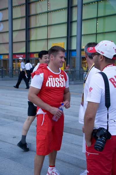 Russian gymnastics star Alexei Nemov at the entrance to the National Indoor Stadium.