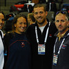 Teresa, Claire and Fran Crippen hang with Coach Lear