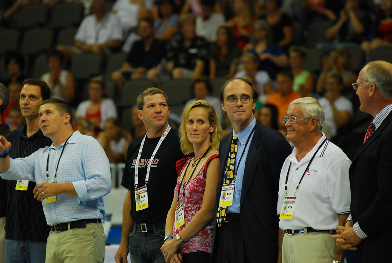 Trina Radke '89 (in pink) saluted in pre-race ceremonies for former Olympians. Trina competed in '88