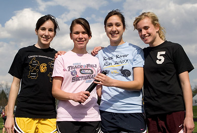 Sycamore girls track:  The 4x800m team, who broke the school's record twice this year.  Most recently, they ran with a time of 10:03 on Tuesday, April 29.  The previous record of 10:15 was set in 2005.  From left:  Nicole O'Connor, Olivia Kevin, Marisa Tolzin, and Lexie Millburg.