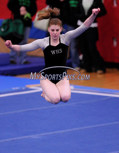 3/1/2008 Mike Orazzi-The Bristol Press Wethersfield's Lindsay Sullivan competes in the Floor Exercise during the State Girls Gymnastics Open at Pomperaug High School on Saturday, March, 1, 2008.