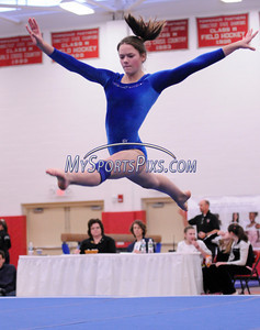 Plainville's Alyssa Mills competes in the Floor Exercise during the State Girls Gymnastics Open at Pomperaug High School on Saturday, March, 1, 2008.
