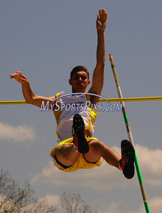 Thomaston's Eddie Kowalski clears the bar during the pole vault during at the Berkshire League Outdoor Track and Field Championships held at Litchfield High School on Saturday, May 17, 2008. (Mike Orazzi | The Bristol Press)