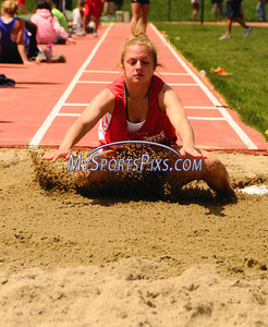 Northwestern's Katherine Woods competes in the long jump during the Berkshire League Outdoor Track and Field Championships held at Litchfield High School on Saturday, May 17, 2008. (Mike Orazzi | The Bristol Press)