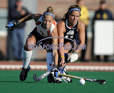 Syracuse University's Kim Coyle (3) of Silver Spring, Maryland and Uconn's Ali Blankmeyer (11) of Convent Station, New Jersey during the Big East Field Hockey Championship on Sunday, November 9, 2008 in Storrs, Conn. Syracuse won 1-0 scoring as time expired to claim the Big East title advancing to the NCAA's. Photo by Mike Orazzi  http://www.mikeorazziphotography.com/