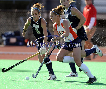 Uconn's Lindsey Leck (3) of Clarksburg, New Jersey and Syracuse University's Lindsey Conrad  (10) of Wilkes-Barre, Pa. during the Big East Field Hockey Championship on Sunday, November 9, 2008 in Storrs, Conn. Syracuse won 1-0 with a goal as time expired to claim the Big East title advancing to the NCAA's. Photo by Mike Orazzi.   http://www.mikeorazziphotography.com/
