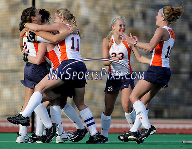 Syracuse's Maggie Befort (2) of Mechanicsburg, Pa. celebrates her game winning goal as time expired during the Big East Field Hockey Championship game with Uconn on Sunday, November 9, 2008 in Storrs, Conn.  Photo by Mike Orazzi.   http://www.mikeorazziphotography.com/