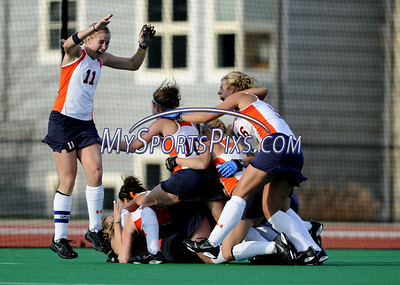 Members of the Syracuse University Field Hockey Team celebrate their 1-0 win over Uconn during the Big East Field Hockey Championship on Sunday, November 9, 2008 in Storrs, Conn.   http://www.mikeorazziphotography.com/