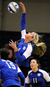 Central Connecticut State University's Amanda Olmstead during CCSU's 3-2 win over Iona College on Saturday.