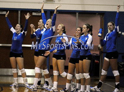 Members of Central Connecticut State University's celebrate during CCSU's 3-2 win over Iona College on Saturday, August 30,2008.