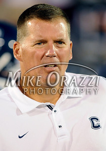 8/28/2008 Mike Orazzi | The Bristol Press Uconn Football Coach Randy Edsall at the start of a 35-3 win over Hofstra at Rentschler Field on Thursday, August 28, 2008.