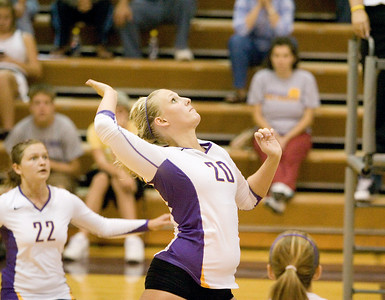 Belvidere High School's Amanda Stroud preparess to attack during the Bucs' loss to Rockford East High School on Tuesday, September 1, 2009.
