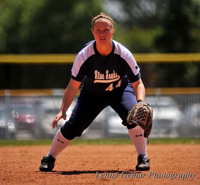 #44 Jody Lantz covering 3rd base.