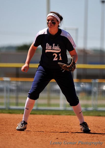 #21 Kelly Jahn covering 1st base.