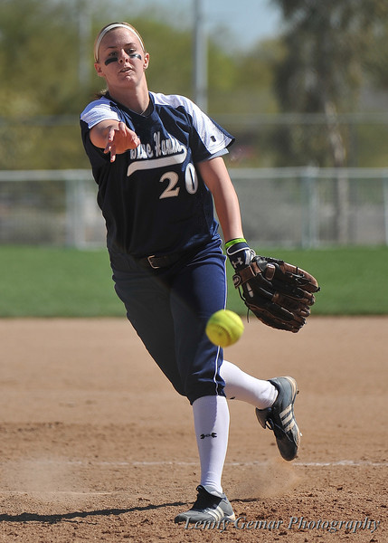"#20 Sara Jane ""S.J."" Webster will record 14 Strike-outs in this game.  Good job, S.J!"