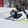 Record-Eagle/Jan-Michael Stump<br /> Traverse City West's Cody Aiken takes his first run in the giant slalom in Monday's state ski championships at Boyne Mountain in Boyne Falls.