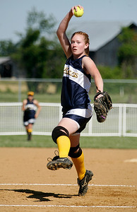 Franklin County pitcher Emily Hampton first toward home during the Flyers' game against Estill County Friday morning during the first round of the KHSAA Fast Pitch Softball State Tournament in Owensboro, KY. Franklin County won 4-0, advancing into a second-round matchup against Allen County-Scottsville in the double-elimination tournament.