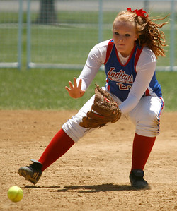 Montgomery County second baseman Jordyn Willoughby fields a ground ball during the Indians' game against North Laurel Friday morning during the second round of the KHSAA Fast Pitch Softball State Tournament in Owensboro, KY. Montgomery County lost 5-0, pushing them into the losers' bracket of the double-elimination tournament.