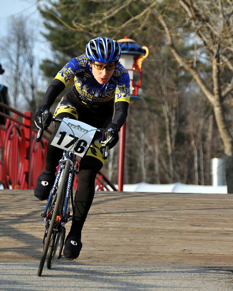 """Danielle Ruane, 35, of Webster, NH,  races through Story Land, in Glen, NH, during the Story Land Criterium, which was Stage 2 of the 3 stage """"Porky Gulch Classic"""" bicycle race, put on by Great Glen Trails in Gorham, NH, on Saturday, Nov. 7th.<br /> Ms. Ruane went on to win the women's elite division at Story Land, and on Sunday, won the overall women's title of The 2009 Porky Gulch Classic."""