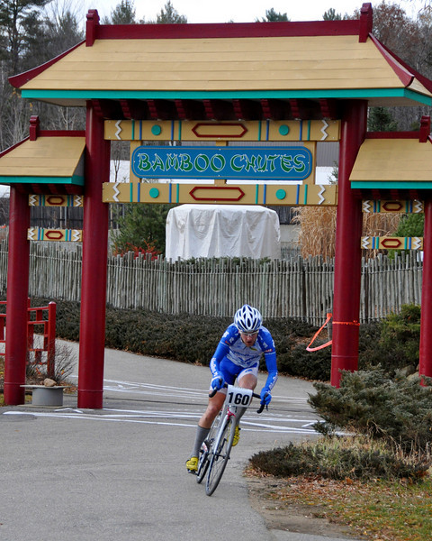 "Thom Coupe, of Plymouth, NH, races through the Bamboo Chutes ride at Story Land, in Glen, while competing in The Porky Gulch Classic 2 day bike race, on Saturday, November 7th. <br /> The 3 stage, 2 day event, is being put on by Great Glen Trails, of Gorham, NH. and will conclude on Sunday at Great Glen, across from the Mt. Washington Auto Road, with the cyclecross race ""Rockpile Revenge"""