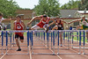 Westin Williams clears the final hurdle; 110 Meter High Hurdles, 1st place.  New regional meet record; 14.20.