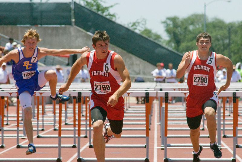 1A boys 110 meter hurdles.  Westin Williams, center, Eric Needham, right.<br /> Williams - 1st place, 14.15