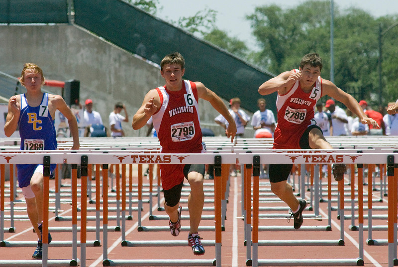 1A boys 110 meter hurdles.  Westin Williams, center, Eric Needham, right.<br /> Williams - 1st place, 14.15.